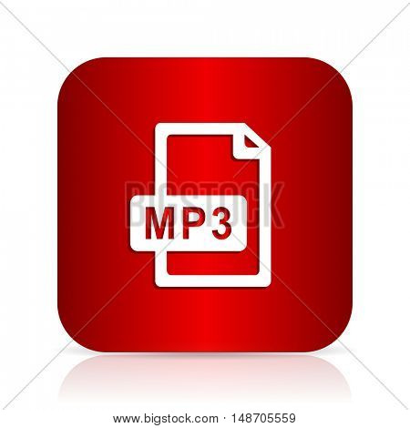 mp3 file red square modern design icon
