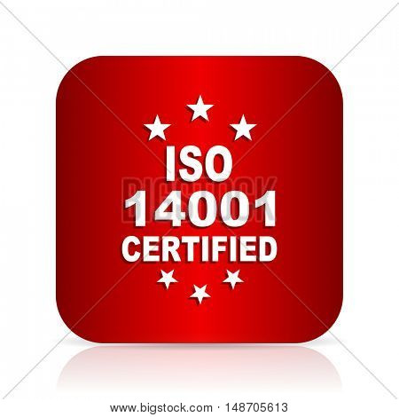 iso 14001 red square modern design icon