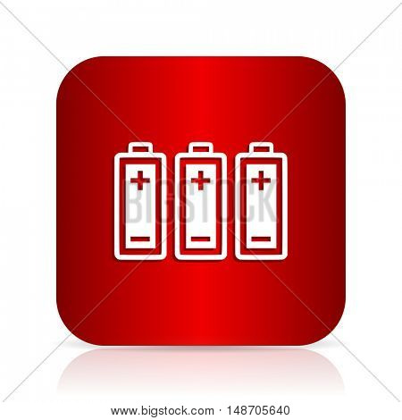 battery red square modern design icon