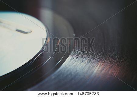 Vintage Vinyl Record Groove Close Up