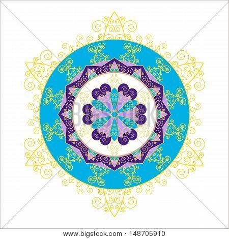 Abstract round snowflake. Mandala in the form of delicate snowflakes. Vector image.