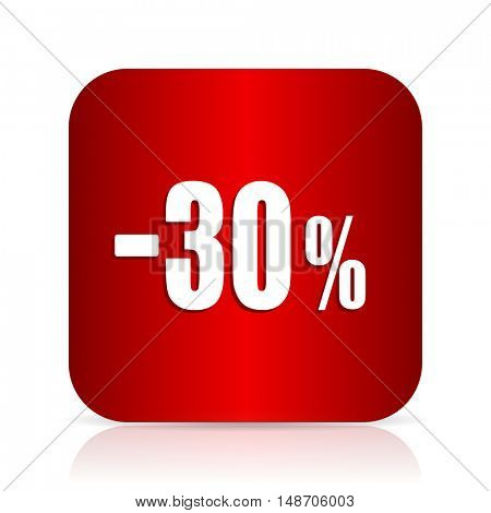 30 percent sale retail red square modern design icon