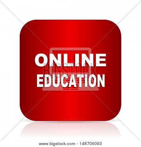 online education red square modern design icon