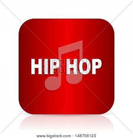 hip hop red square modern design icon