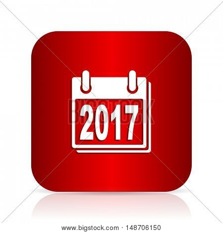 new year 2017 red square modern design icon