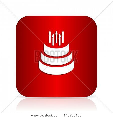 cake red square modern design icon
