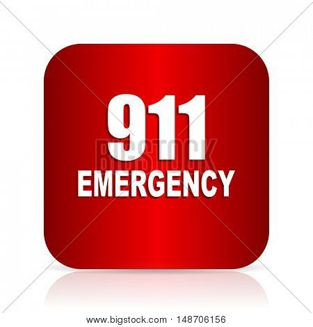number emergency 911 red square modern design icon