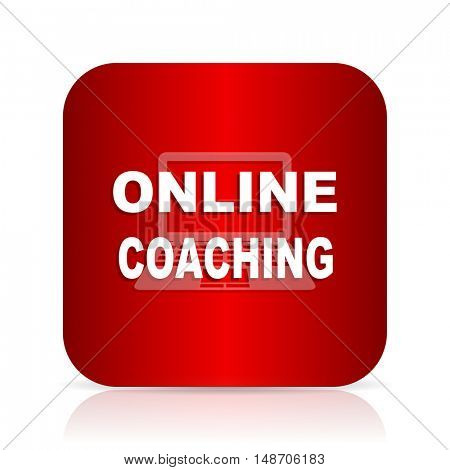 online coaching red square modern design icon
