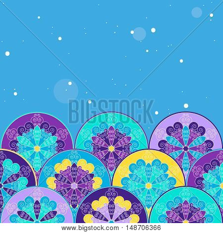Winter abstract background with delicate snowflakes. Top empty space for Your text. Vector image.