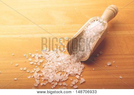 coarse salt on a wooden board filter applied