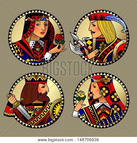 Round gold shapes with faces of playing cards characters. Colorful original vintage design. Vector illustration