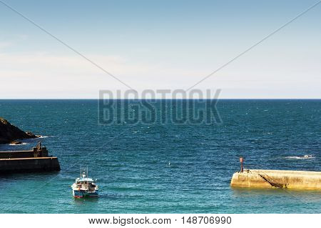 View of the harbour at Port Issac Cornwall