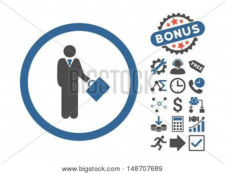 Businessman pictograph with bonus pictograph collection. Vector illustration style is flat iconic bicolor symbols, cobalt and gray colors, white background.