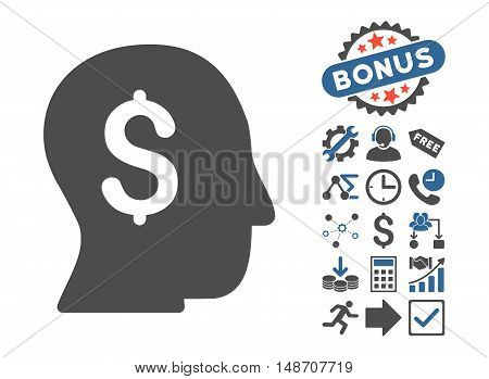 Businessman pictograph with bonus pictures. Vector illustration style is flat iconic bicolor symbols, cobalt and gray colors, white background.
