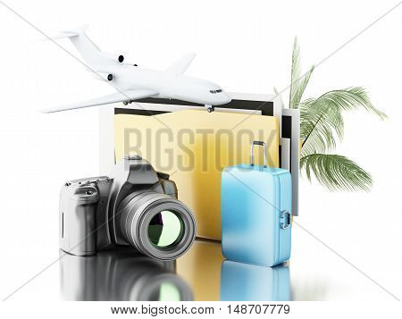 3d renderer image. Photo camera with folder airplane and suitcase. Travel concept. Isolated white background.