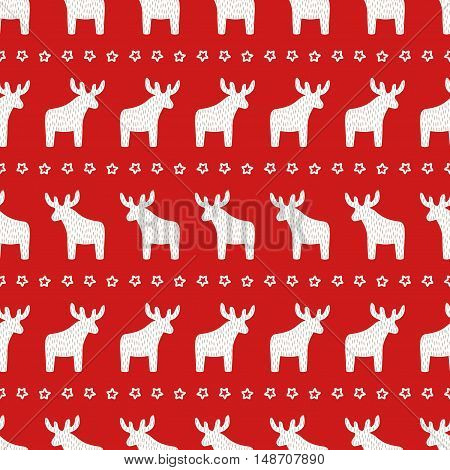 Christmas pattern - Xmas reindeer and star on red background. Happy New Year seamless background. Winter holidays vector design for textile, wallpaper, web, wrapping paper, fabric, decor etc.