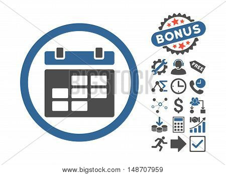Calendar pictograph with bonus pictures. Vector illustration style is flat iconic bicolor symbols, cobalt and gray colors, white background.