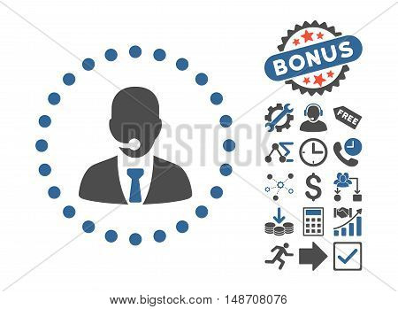 Call Center Operator pictograph with bonus pictures. Vector illustration style is flat iconic bicolor symbols, cobalt and gray colors, white background.