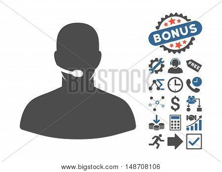 Call Center pictograph with bonus pictograph collection. Vector illustration style is flat iconic bicolor symbols, cobalt and gray colors, white background.