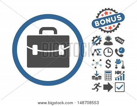 Case pictograph with bonus pictures. Vector illustration style is flat iconic bicolor symbols, cobalt and gray colors, white background.