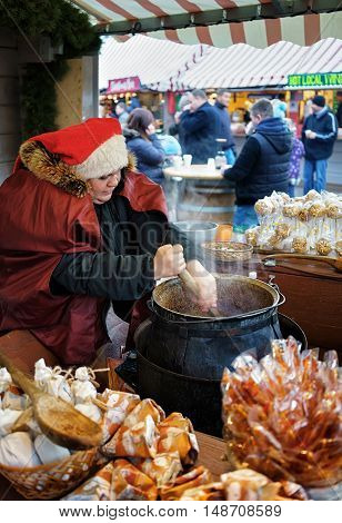 Homemade Candies Are Sold In Riga Christmas Market
