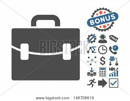 Case pictograph with bonus images. Vector illustration style is flat iconic bicolor symbols, cobalt and gray colors, white background.