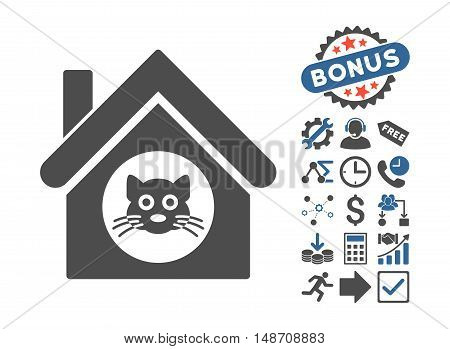 Cat House pictograph with bonus clip art. Vector illustration style is flat iconic bicolor symbols, cobalt and gray colors, white background.
