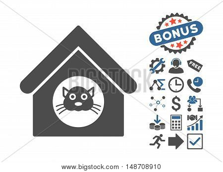 Cat House pictograph with bonus elements. Vector illustration style is flat iconic bicolor symbols, cobalt and gray colors, white background.