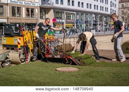 Munich, Germany April 13, 2013: Mechanized laying a new lawn. For laying the lawn using a special truck crawler. One worker controls the trolley and the other leveled lawn.