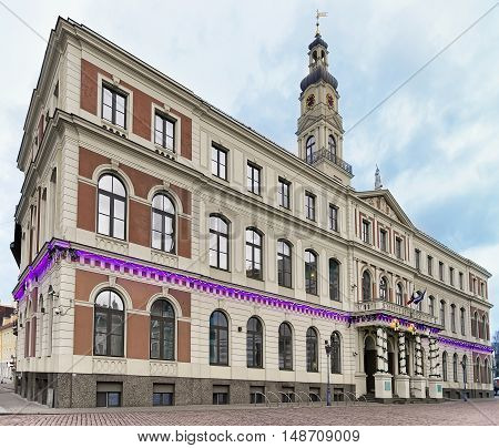Riga City Council On Town Hall Square In Christmas Riga