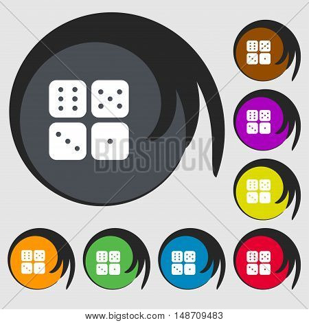 Dices Icon Sign. Symbols On Eight Colored Buttons. Vector
