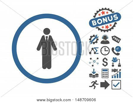 Clerk pictograph with bonus elements. Vector illustration style is flat iconic bicolor symbols cobalt and gray colors white background.