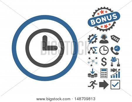 Clock pictograph with bonus symbols. Vector illustration style is flat iconic bicolor symbols, cobalt and gray colors, white background.