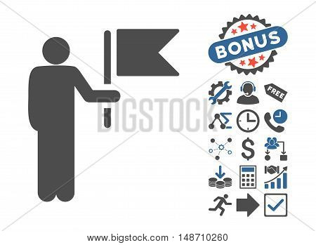 Commander With Flag icon with bonus clip art. Vector illustration style is flat iconic bicolor symbols, cobalt and gray colors, white background.