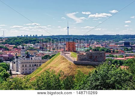 Gediminas Tower on the hill and Lower Castle in Vilnius of Lithuania. Gediminas Tower is also called as Upper Castle. Lithuania is one of the Baltic countries in the Eastern Europe.