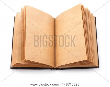 Open spread old book with blank page. Isolated on white background