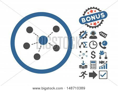 Connections icon with bonus pictogram. Vector illustration style is flat iconic bicolor symbols, cobalt and gray colors, white background.
