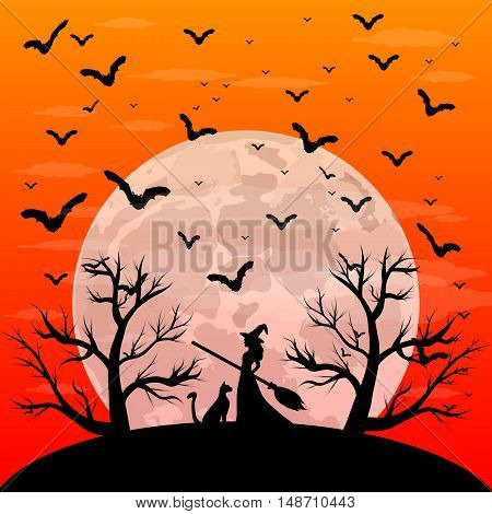 Postcard invitation to the Halloween party. Young witch with a cat in the forest with the full moon