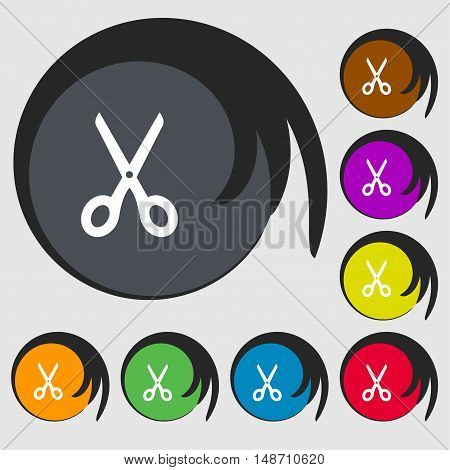 Scissors Icon Sign. Symbols On Eight Colored Buttons. Vector