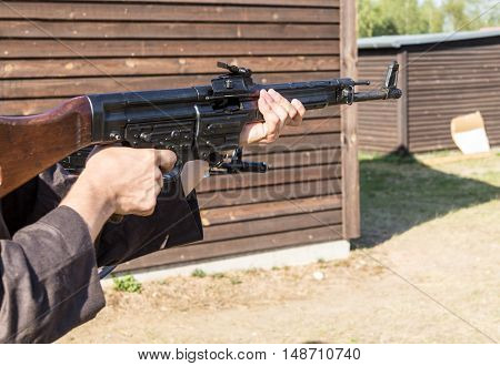 weapon ready to shoot on a shooting range