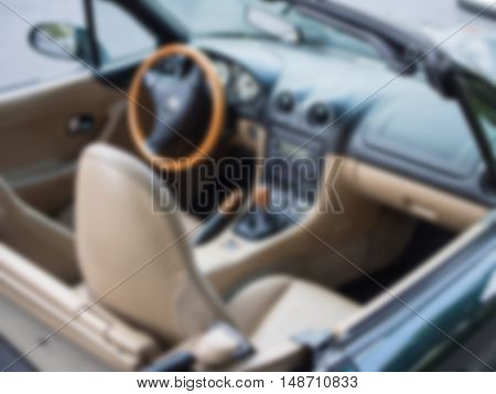 Blurry Background: Blurred Interior Of A Cabriolet