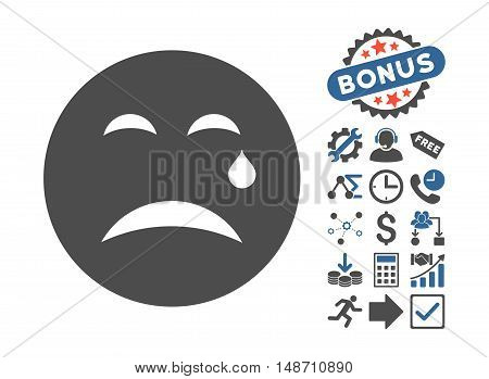 Cry pictograph with bonus symbols. Vector illustration style is flat iconic bicolor symbols, cobalt and gray colors, white background.