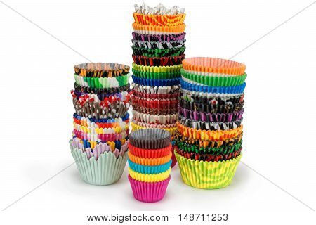 Bright Multicolored Paper Cupcake Holders Isolated On White