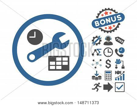 Date and Time Setup icon with bonus clip art. Vector illustration style is flat iconic bicolor symbols, cobalt and gray colors, white background.