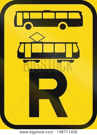 Temporary Road Sign Used In The African Country Of Botswana - Reservation For Buses And Trams
