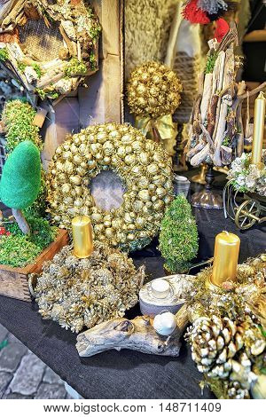 Golden Christmas Wreaths With Candles At Riga Christmas Market
