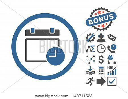 Date and Time pictograph with bonus icon set. Vector illustration style is flat iconic bicolor symbols, cobalt and gray colors, white background.