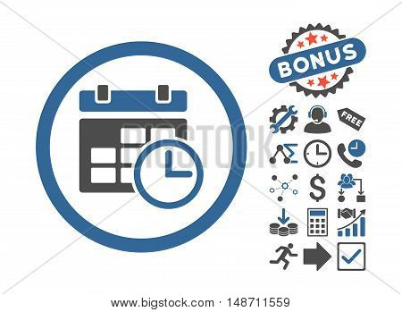 Date and Time pictograph with bonus elements. Vector illustration style is flat iconic bicolor symbols, cobalt and gray colors, white background.