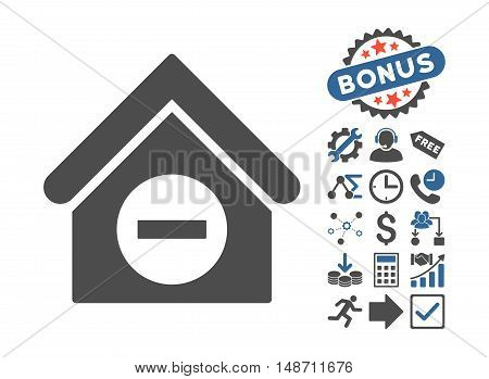 Deduct Building pictograph with bonus symbols. Vector illustration style is flat iconic bicolor symbols, cobalt and gray colors, white background.