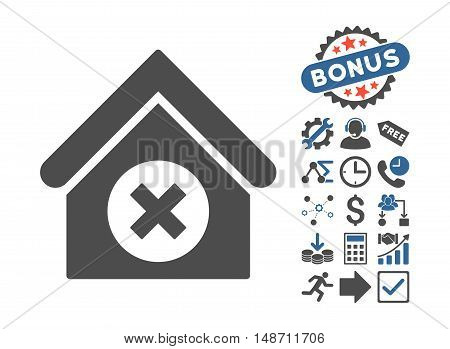 Delete Building pictograph with bonus pictogram. Vector illustration style is flat iconic bicolor symbols, cobalt and gray colors, white background.
